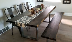 Live Edge Dining Table & Bench( Made to Order)