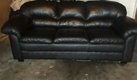 BLACK LEATHER COUCH.       $200