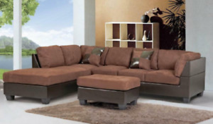 Microfiber sectional couch sofa