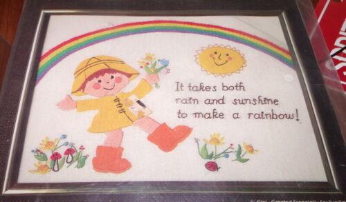 "Adorable Bucilla RAINBOW SAMPLER Crewel Kit 11"" x 14"""