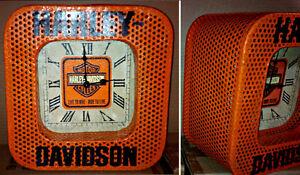 VTG INDUSTRIAL STYLE STEEL MESH HARLEY DAVIDSON-INDIAN CLOCK