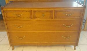 Gorgeous Vintage Top Quality Hardwood Dresser with Mirror