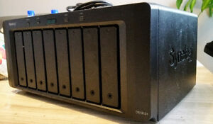 Synology 8 Bay NAS server w/ 12TB of Hard Drive Space. WD RED
