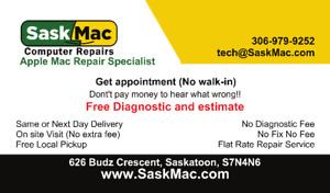Saskatoon's Mac Repair Specialist - Free Estimate - Free Pickup