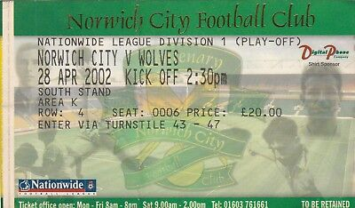 Ticket - Norwich City v Wolverhampton Wanderers 28.04.02