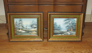 Framed Oil Paintings - WINTER RIVER SCENE - River and Trees