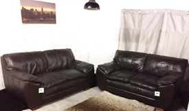 °° Dark brown real leather 2+2 seater sofas