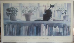Framed Poster With Cats & Books