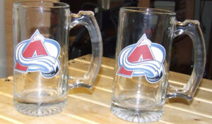 2 Colorado Avalanche Glass Mugs - Used - $7.00 For BOTH !!!