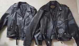 2 motorcycle leather jackets