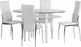 Brand New - Dining Table & 4 Chairs (white & Black Available)