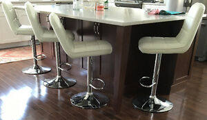 4 white adjustable height stools $30 each