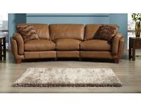SiSi Italia Tan Leather 3 Seater Sofa
