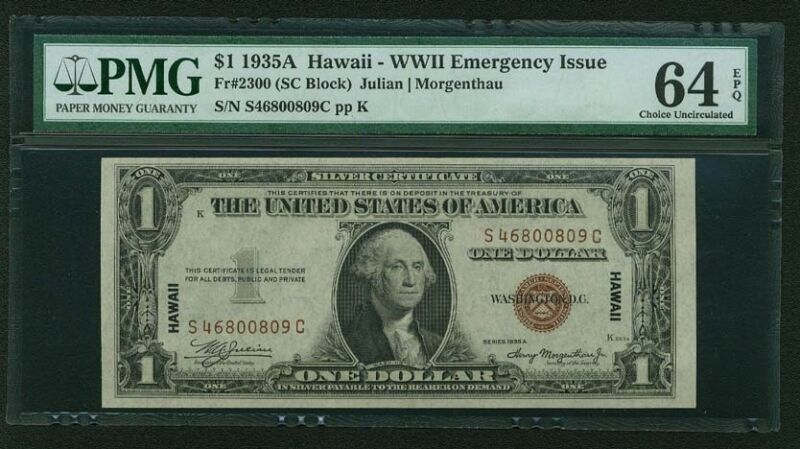 "U.S.  ""HAWAII""  $1 WWII EMERGENCY ISSUE SILVER CERTIFICATE, CERTIFIED PMG 64-EPQ"