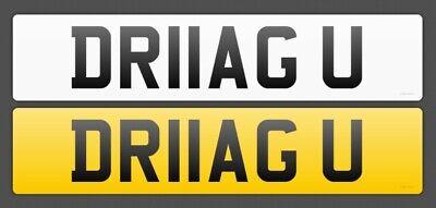 """PERSONALISED NUMBER PLATE """"DRAG U"""" - DR11 AGU - Muscle Car - Fast Bike - Racer"""