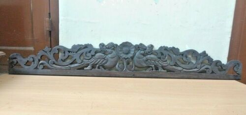 Antique Wall Hanging Wooden Panel Hand Carved Dragon Gargoyle Estate Home decor