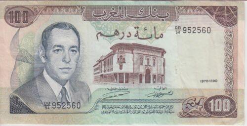 Morocco Banknote P59a 100 Dirhams 1970/1390, VF