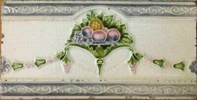 Vintage rare antique art nouveau majolica border tile c1900 | 6 X 3 Inches