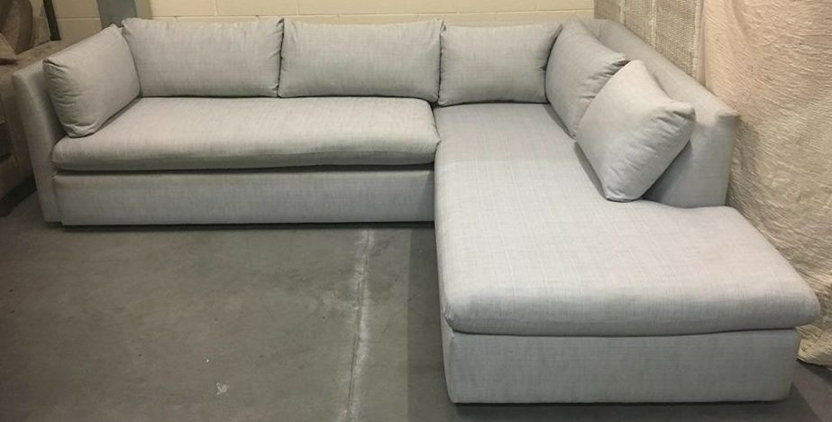 West Elm Shelter Designer Corner RH Chaise Sofa NEW RRP £2499 Silver Grey