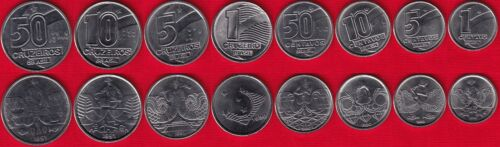 Brazil set of 8 coins: 1 centavo - 50 cruzeiros 1989-1991 UNC