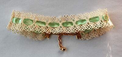 VINTAGE LACE MINT GREEN RIBBON CHOKER NECKLACE ADJUSTABLE • Red's Vintage Stuff! (Mint Green Stuff)