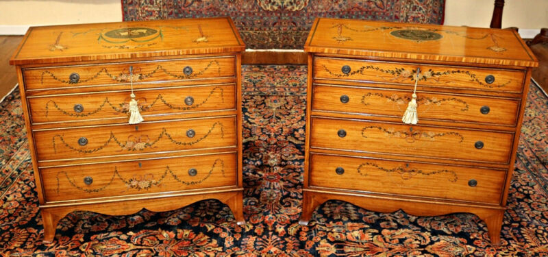 Magnificent Pair of Adams Style Satinwood Paint Decorated Chests