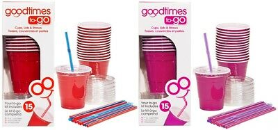 9oz To Cups (Goodtimes 9oz Kids Cups To-Go Kits With Lids And Straws-Pick Your Color! (1)