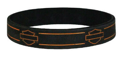 Harley-Davidson Debossed Blank Bar & Shield Silicone Wristband, Black WB114464
