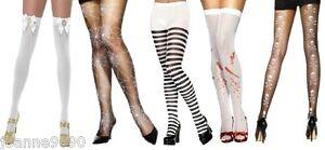 LADIES-HALLOWEEN-FUN-BLACK-WHITE-STRIPE-STEAMPUNK-THIGH-HIGHS-TIGHTS-STOCKINGS