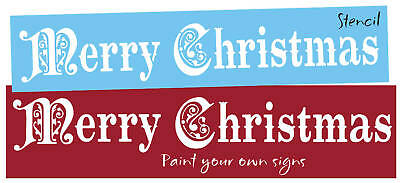 Stencil Vintage style font Merry Christmas Holiday Country Primitiv Sign U Paint ()