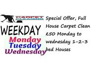 Special Weekday Offer, Full House Carpet Clean £50 Monday to wednesday 1-2-3 be houses