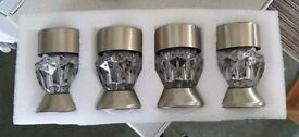Brand New & Boxed (Never Used) - Set of 4 Solar Crystal Glass Stainless Steel Multi Purpose Lights