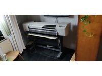"HP Designjet 42"" A0 plotter, used, including inks"