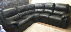 Black leather recliner corner sofa. Delivery available