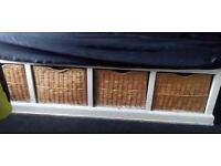 Cotswold solid wood matching single beds with four wicker storage , without mattresses ,