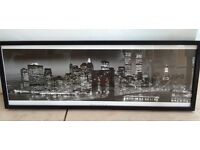 Long Portrait Panorama of Manhattan New York at Night - Framed Photograph Print