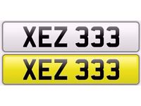XEZ 333 REGISTRATION PLATE FOR SALE NUMBERPLATE PERSONALISED NORTHERN IRISH NUMBER PLATE