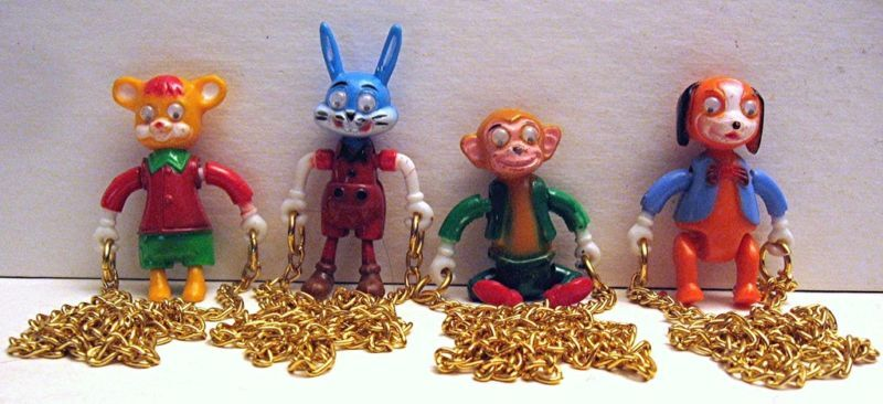 4 Hanging Animal Necklace Charms Vending Machine Toy