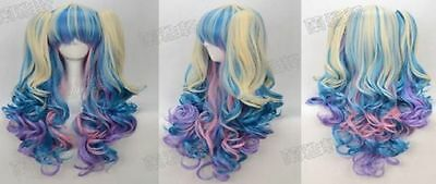Pastel Rainbow Wig (New style Wig + 2 Pig Tails Set Pastel Rainbow Mix Blend Cosplay)