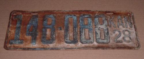 1928 Kansas License Plate 149-088 Car Tag