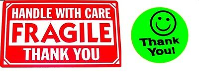 500 2 X 3 Fragile Handle With Care Label Sticker 20 Free Thank You Green Smiley