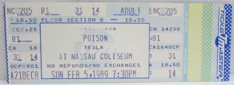Poison At The Nassau Coliseum Unused Concert Ticket ~156