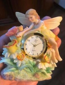 Miniature Fairy Clock with Flowers and butterfly $12
