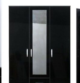 HELLO San Diego 3 door 2 Drw Wardrobe White /Black On Offer RRP £289.99 Was £119.99 Now only £99.99