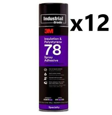 Case Of 3m Insulation Polystyre 78 Spray Adhesive 12 Cans 17.9 Oz Each Can
