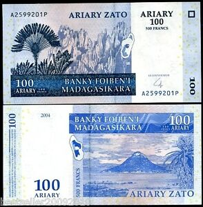 Madagaskar 100 Ariary UNC Beautiful Note # 211