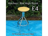 Kitchen / Bar High Stool - Measurements on Photo