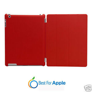 Red New iPad 4,iPad 3,iPad 2 Case Magnetic Slim Smart Cover and Hard Back Case