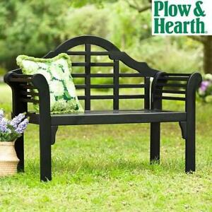 NEW PLOW AND HEARTH GARDEN BENCH 62A79-BK 251616265 LUTYENS WOOD BENCH BLACK