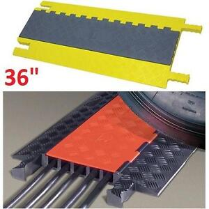 """NEW POWER FIRST CABLE PROTECTOR 36"""" RACEWAY COVER HINGED 5 CHANNEL GREY GRAY YELLOW 109068552"""